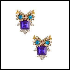 Betsey Johnson Jewelry - BETSEY JOHNSON PAVE JEWELED CRYSTAL OWL EARRINGS